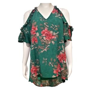 JODIFL Top Cold Shoulder Ruffle Green Floral Bold